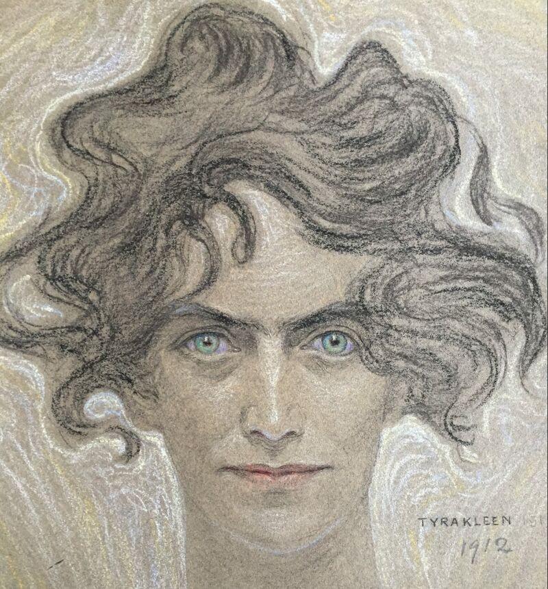 Tyra Kleen, porträtt av Lilly Sparre, 1912, pastell